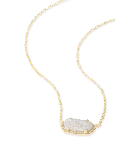 Kendra Scott Elisa Oval Pendant Necklace in Iridescent Drusy and Gold Plated