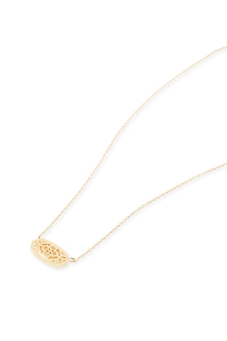 Kendra Scott Elisa Oval Filigree Pendant Necklace in Gold
