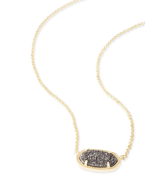 Detail Shot of Kendra Scott Elisa Oval Pendant Necklace in Platinum Drusy and Gold Plated