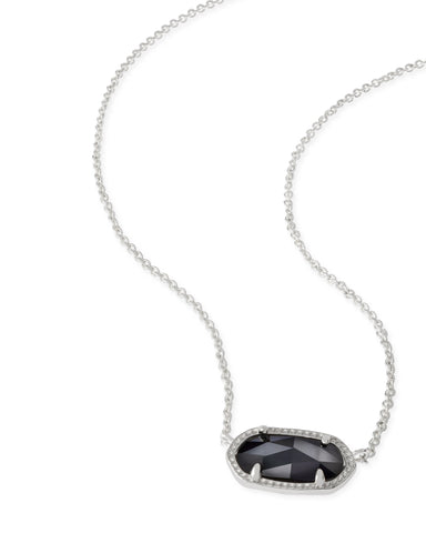 Kendra Scott Elisa Oval Pendant Necklace in Black and Rhodium