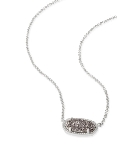 Kendra Scott Elisa Oval Pendant Necklace in Platinum Drusy and Rhodium