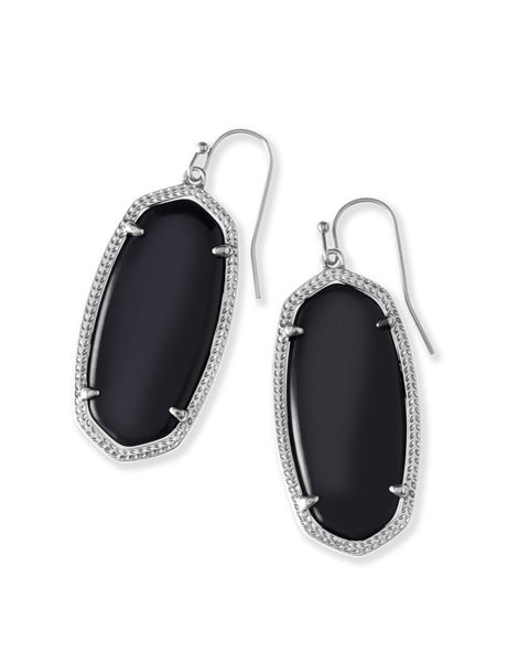 Pair of Kendra Scott Elle Dangle Earrings in Black Opaque Glass and Rhodium