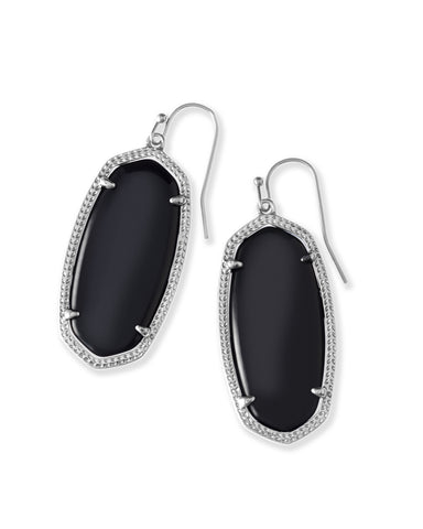 Kendra Scott Elle Oval Dangle Earrings in Black and Rhodium