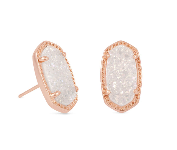Kendra Scott Ellie Oval Stud Earrings in Iridescent Drusy and Rose Gold Plated