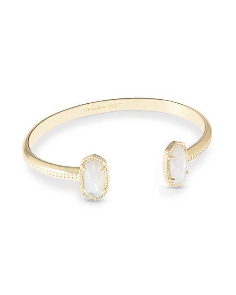 Kendra Scott Elton Open Bangle Bracelet in Ivory Pearl and Gold Plated