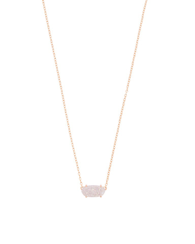 Kendra Scott Ever Oval Pendant Necklace in Iridescent Drusy and Rose Gold