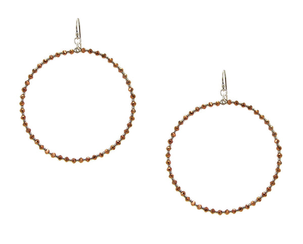 image of Chan Luu Silver Hoop Earrings with Bronze Crystals and Silver Seed Beads