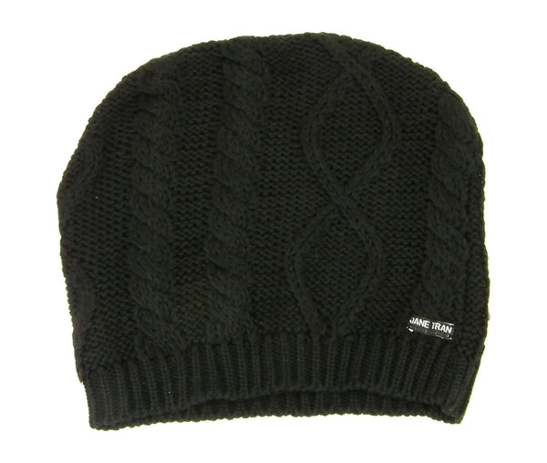 Primary View Jane Tran Women's Mottled Cable Knit Beanie Hat Deep Black Cotton Laying Flat