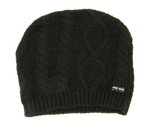 Jane Tran Women's Mottled Cable Knit Beanie Hat in Deep Black