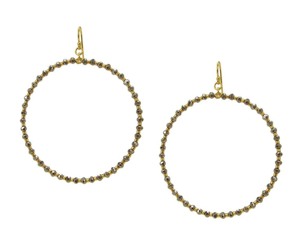 Chan Luu Gold Hoop Earrings Silver Crystals and Gold Tone Seed Beads