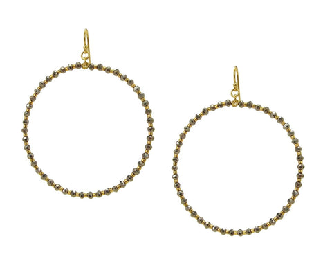 Chan Luu Gold Hoop Earrings Silver Crystals & Gold Tone Seed Beads