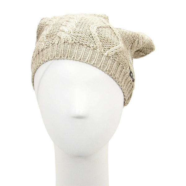 Primary View Jane Tran Women's Mottled Cable Knit Beanie Hat Light Beige Sand Cotton Mannequin