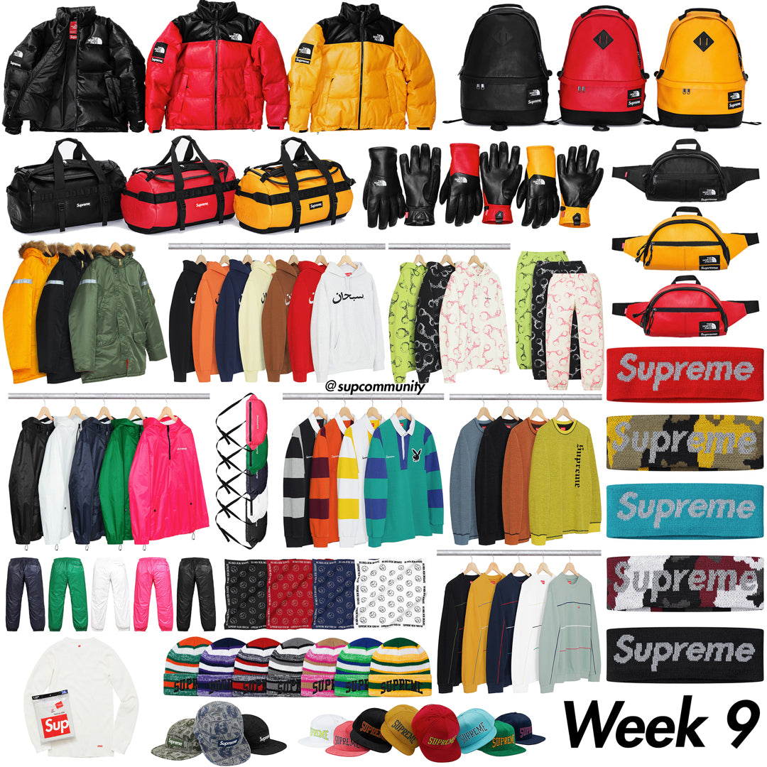 Supreme Week 9 FW17 Retail Prices & Droplist (The North Face x Supreme)