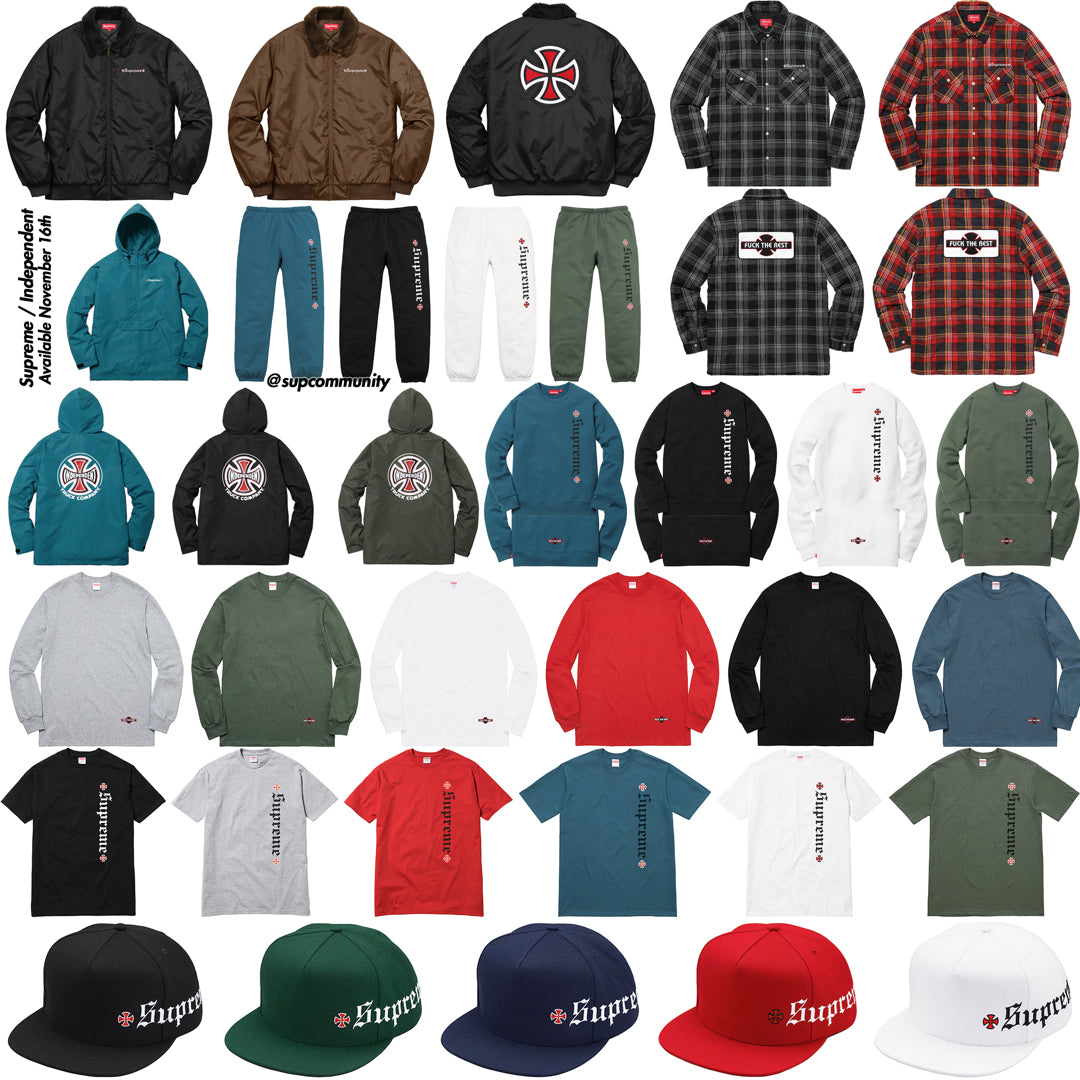 Supreme Week 13 FW17 Retail Prices & Droplist (Supreme x Independent)