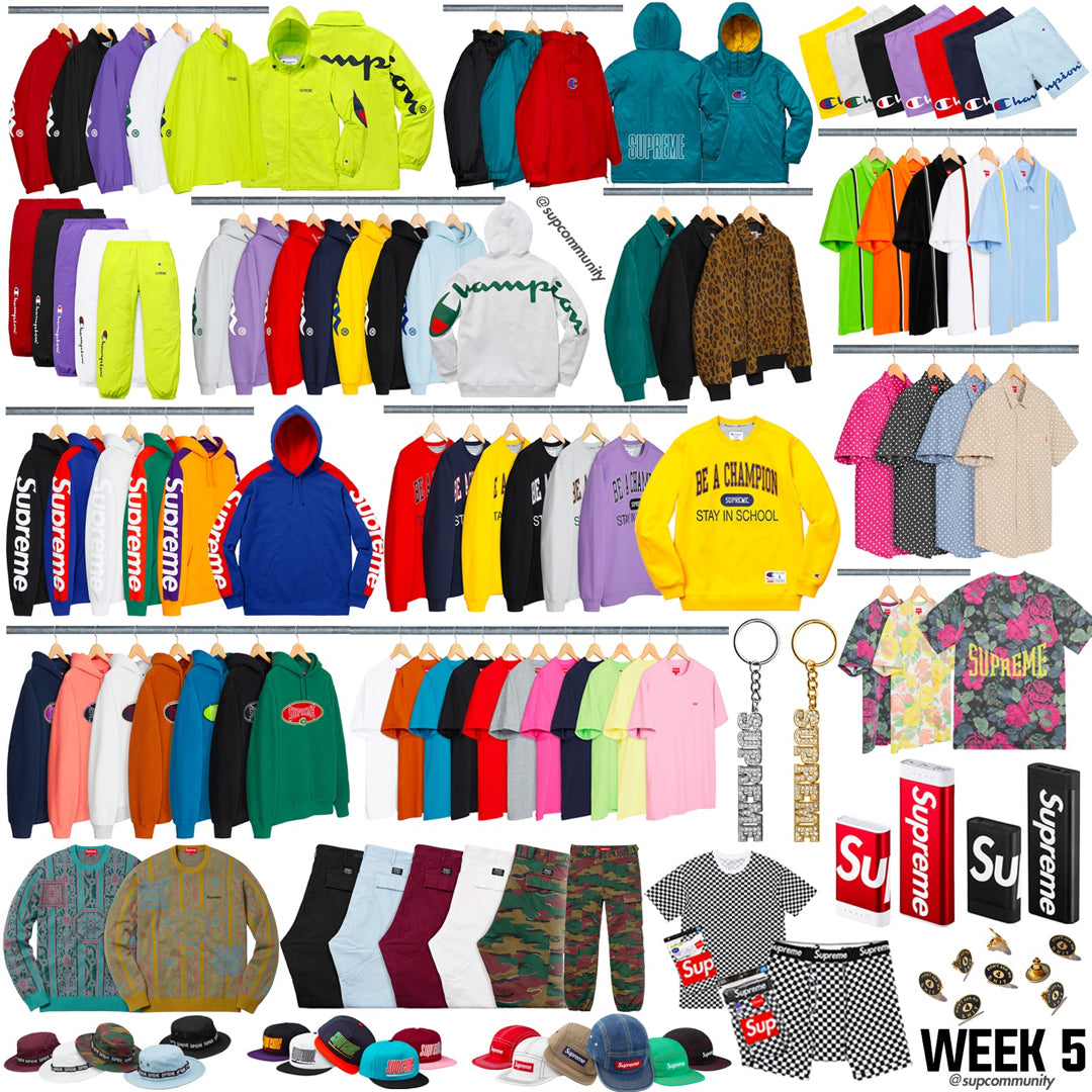Supreme Week 5 Retail Prices and Droplist (SS18) - Champion