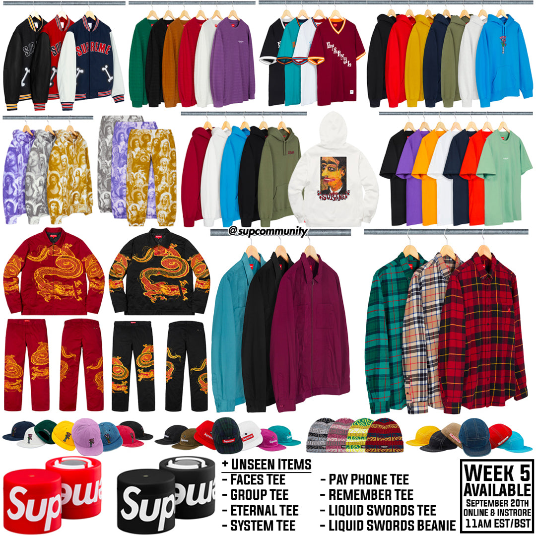 Supreme Week 5 Retail Prices and Droplist