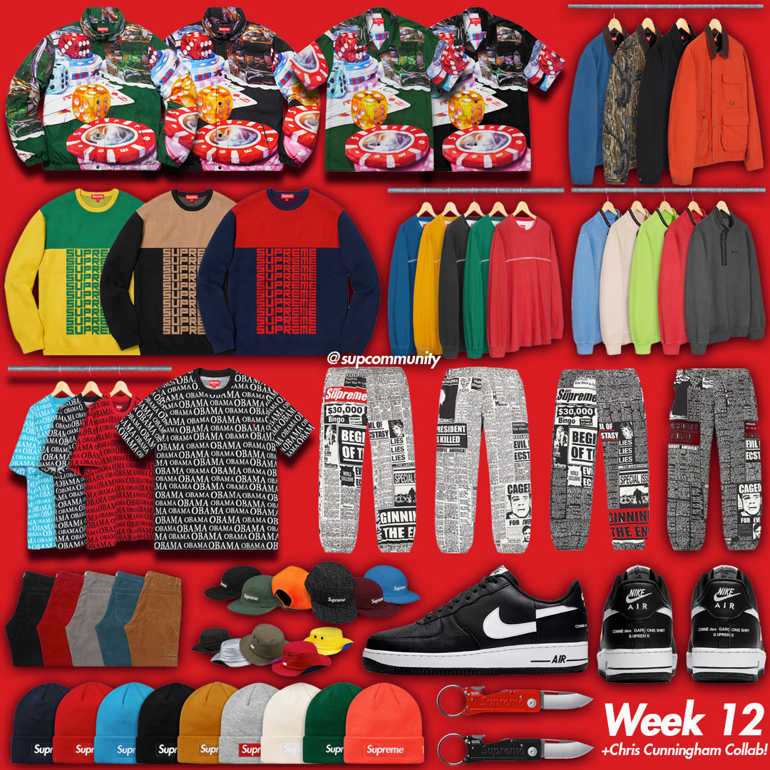 Supreme Week 12 Retail Prices and Droplist