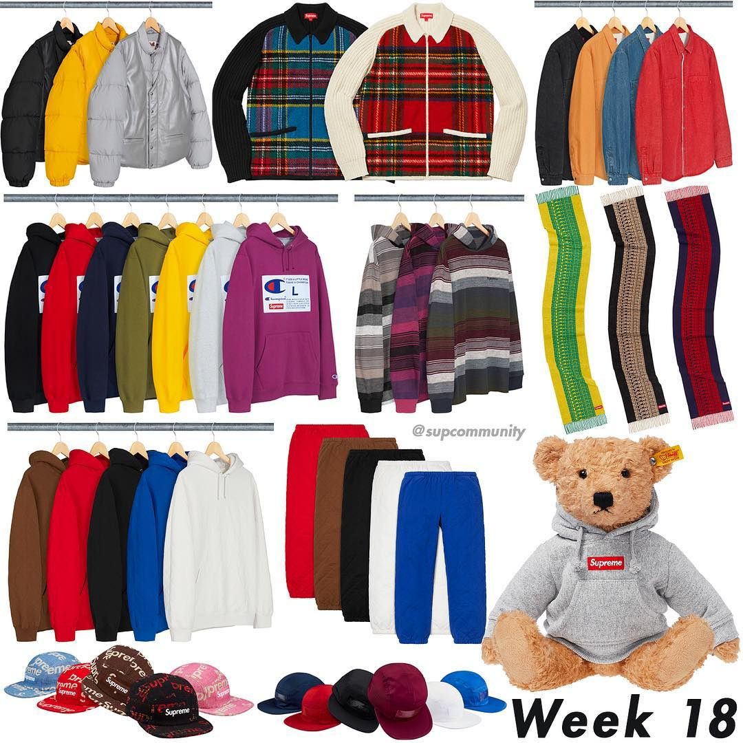 Supreme Week 18 Retail Prices and Droplist