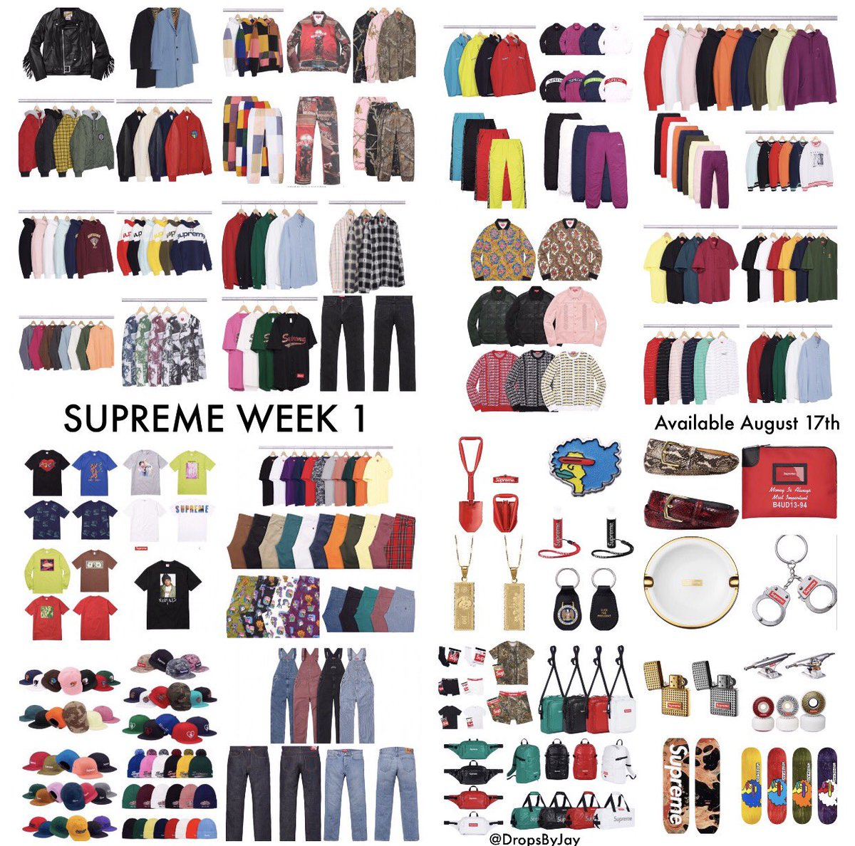 Supreme F/W '17 Week 1 Droplist With Retails