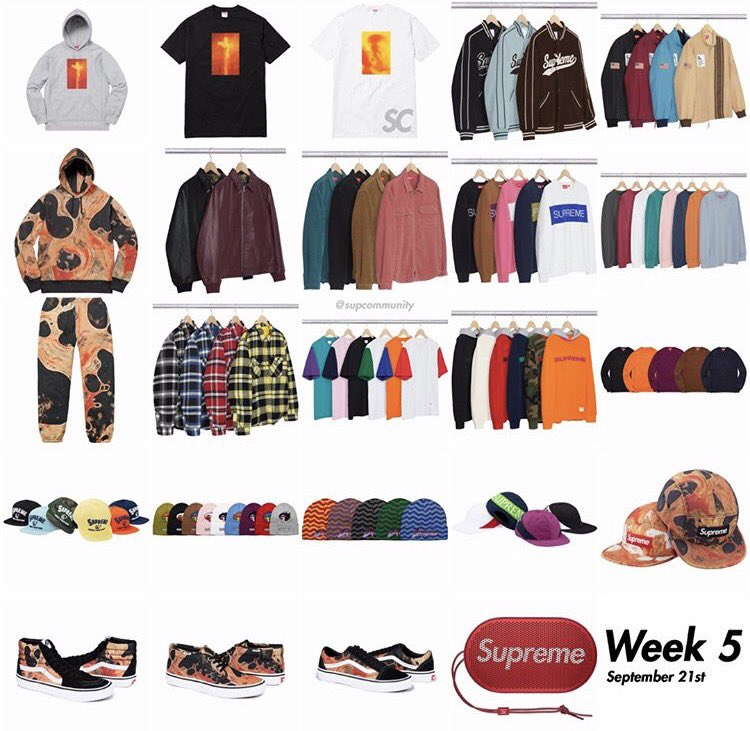Supreme Week 5 FW17 Retail Prices & Droplist