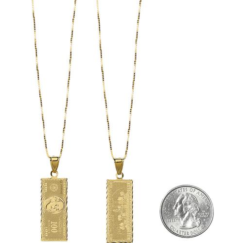 100 Dollar Bill Gold Pendant supreme  fw17
