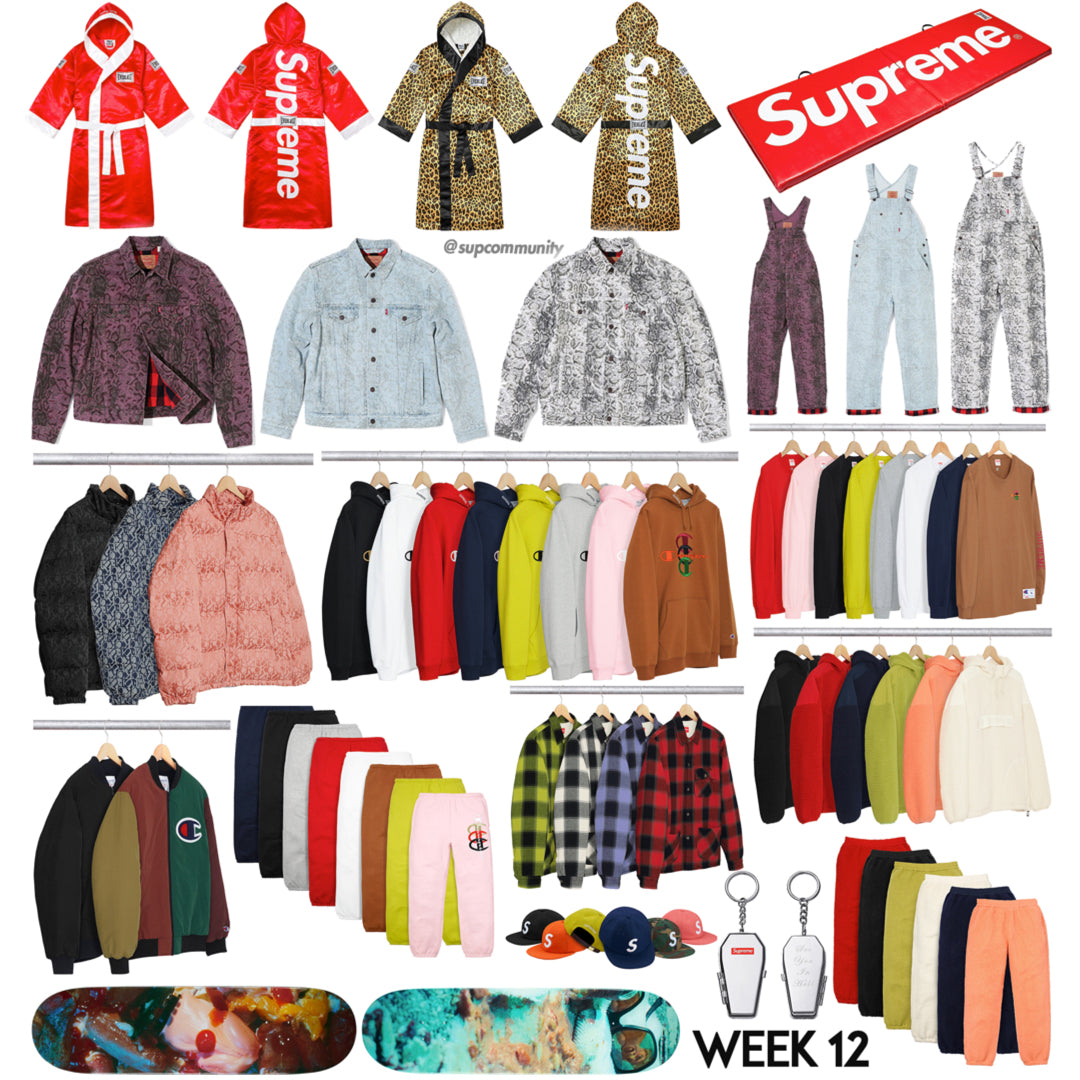 Supreme Week 12 FW17 Full Droplist