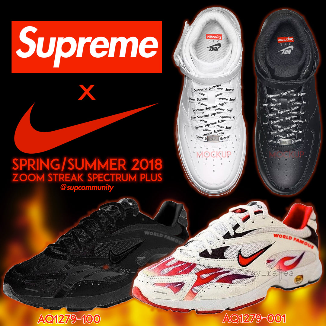 Supreme x Nike Zoom Streak Spectrum & Air Force 1 Mid collaboration (SS18)