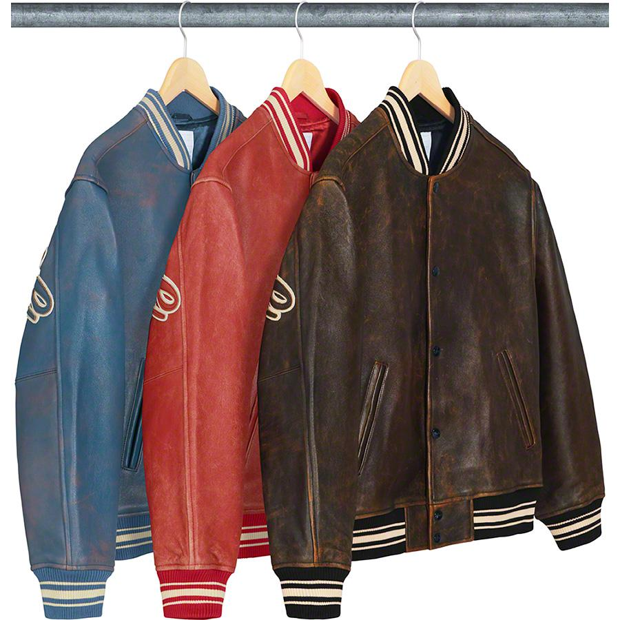 Supreme Leather Varsity Jacket