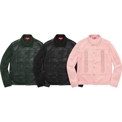 314a0ac23 ... uk leather front polo sweater supreme fall winter 2017 233a2 8727f