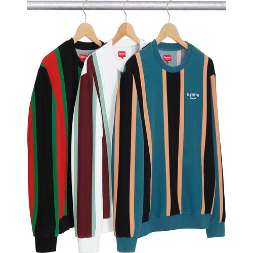 Vertical Striped Pique Crewneck