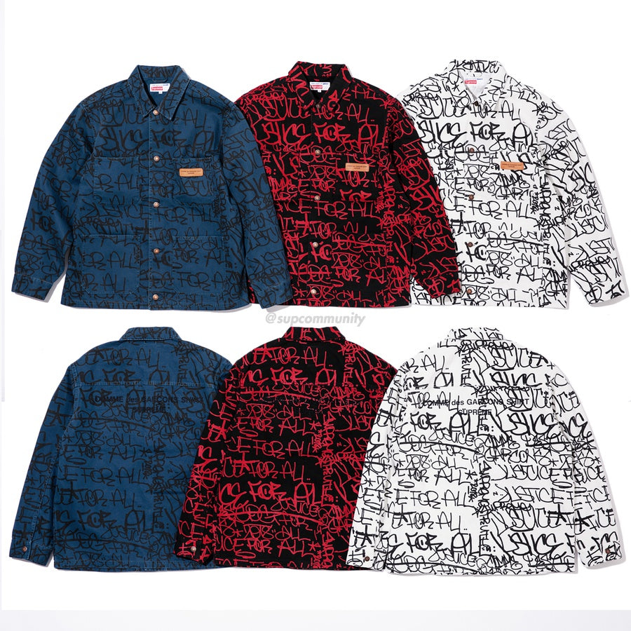 Supreme/Comme des Garçons SHIRT Cotton Painted Canvas Chore Coat
