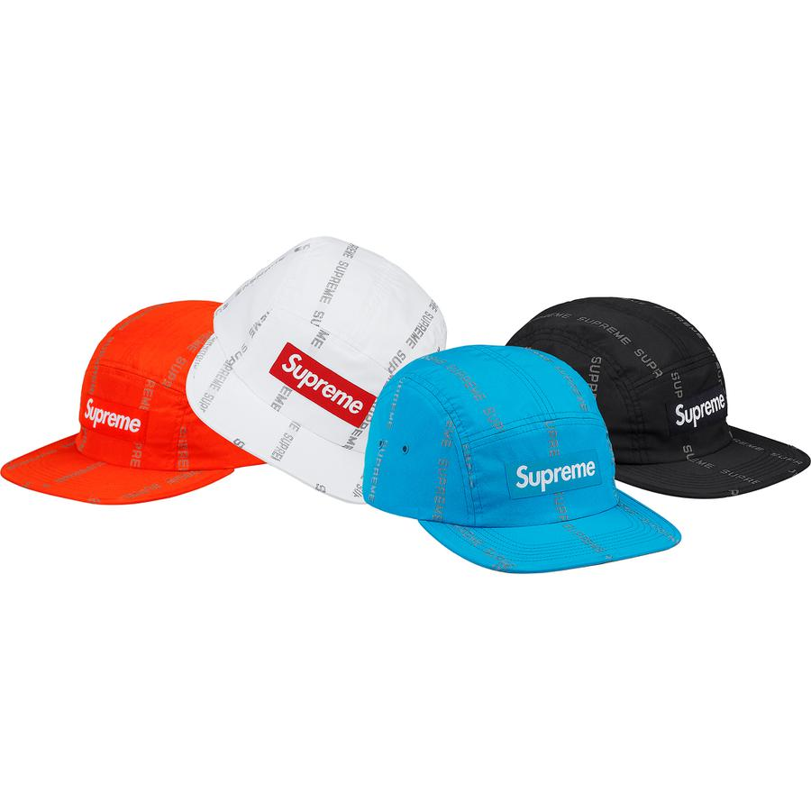 Supreme Reflective Text Stripe Camp Cap