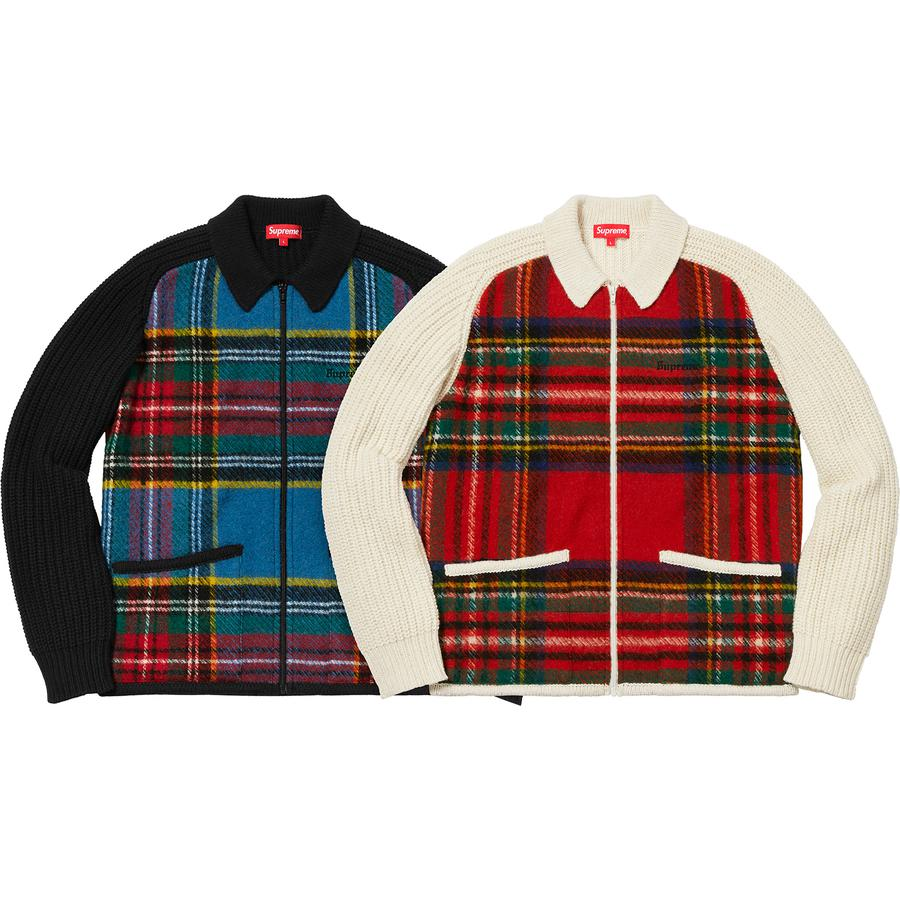 Supreme Plaid Front Zip Sweater