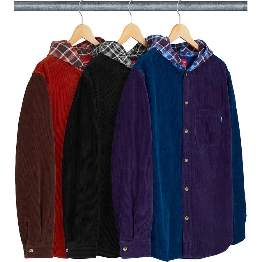 Supreme Hooded Color Blocked Corduroy Shirt