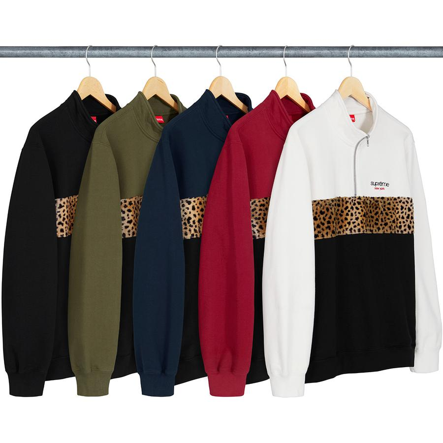 Supreme Leopard Panel Half Zip Sweatshirt