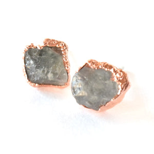 Aquamarine Stud Earrings Set in Copper