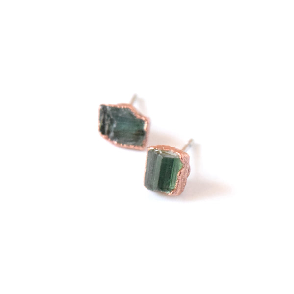 Green Tourmaline Spindle Stud Earrings Set in Copper