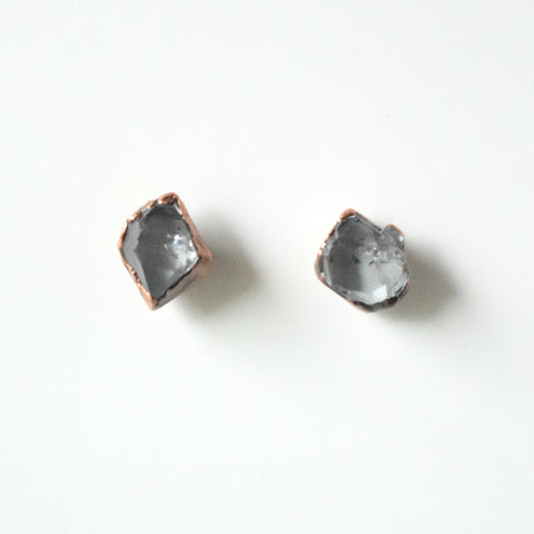 Herkimer Diamond Stud Earrings Set in Copper