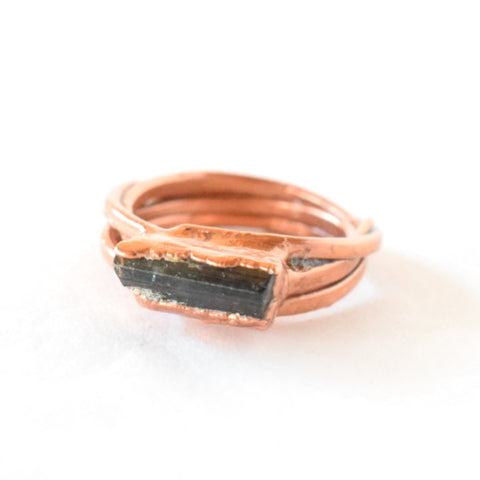 Green Tourmaline Wrap Ring Set in Copper - Size 6