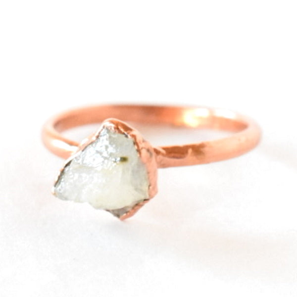 Raw Moonstone Ring Set in Copper - Size 5.5