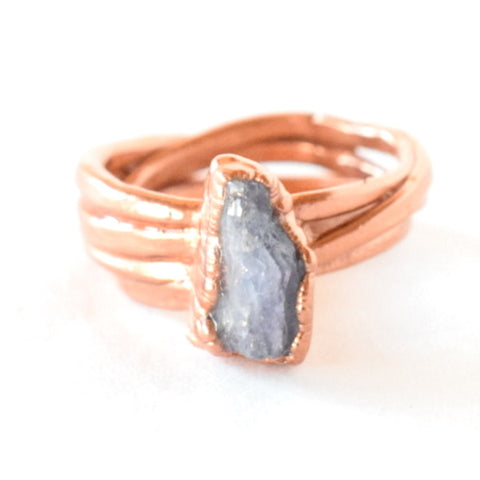 Tanzanite Wrap Ring Set in Copper - Size 7.5