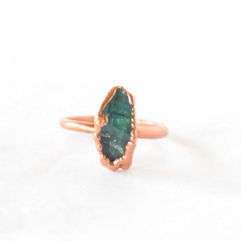 Blue Apatite Ring Set in Copper - Size 8