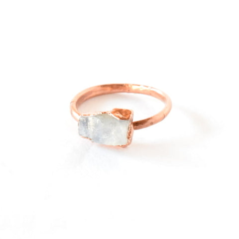 Raw Moonstone Ring Set in Copper - Size 8