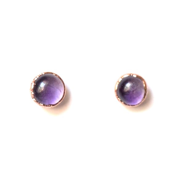 Amethyst Stud Earrings Set in Copper