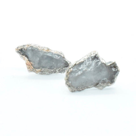 Large Raw Quartz Stud Earrings Set in Silver plated copper