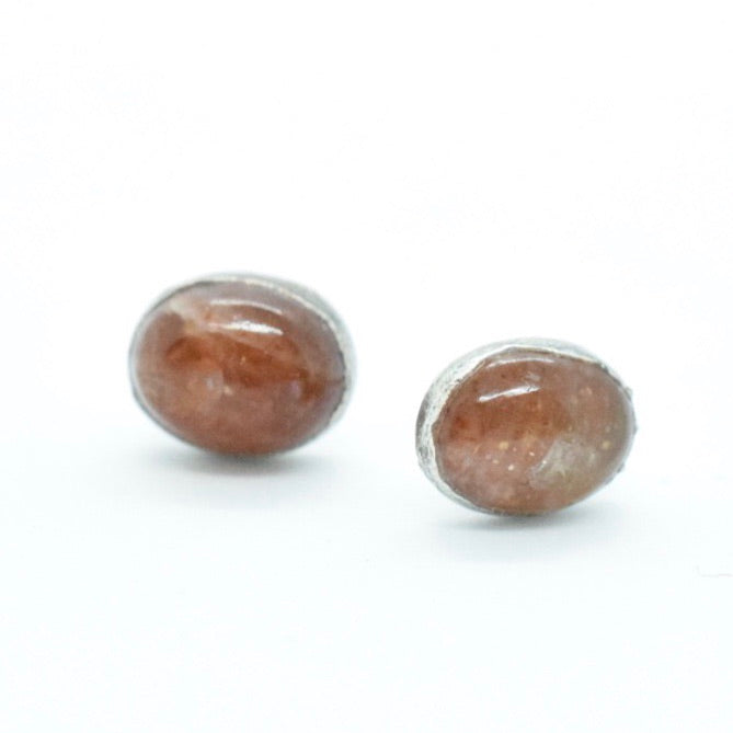 Sunstone Stud Earrings Set in Silver Plated Copper