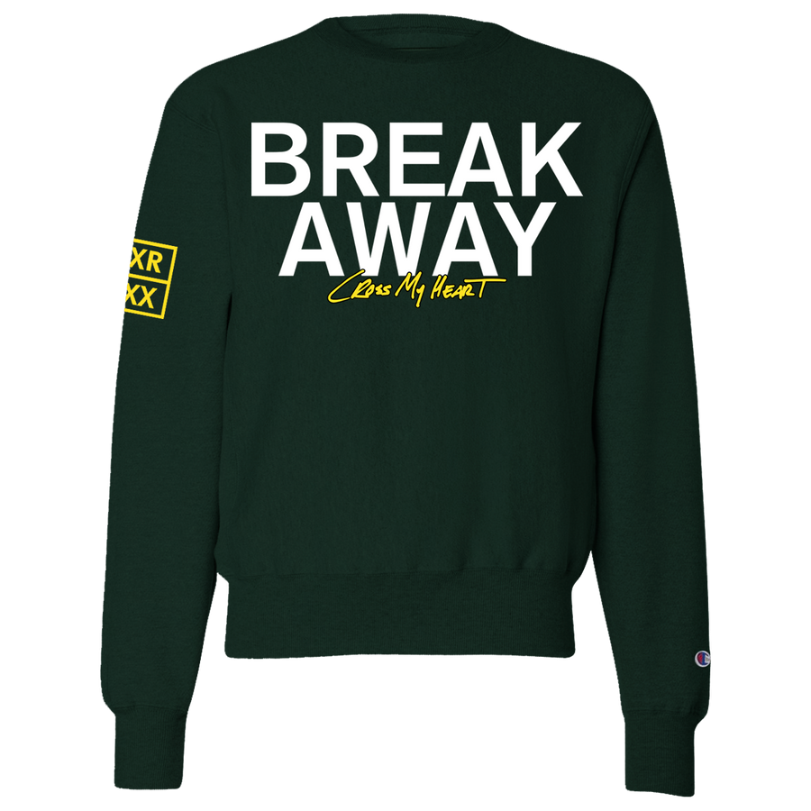 "BREAK AWAY ""Cross My Heart"" Green Crew Neck"
