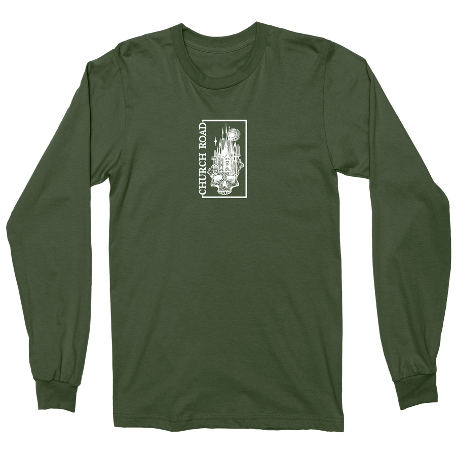 "CHURCH ROAD ""Skull Logo"" Forest Green Longsleeve"