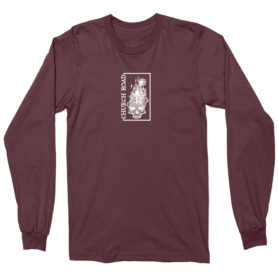"CHURCH ROAD ""Skull Logo"" Maroon Longsleeve"