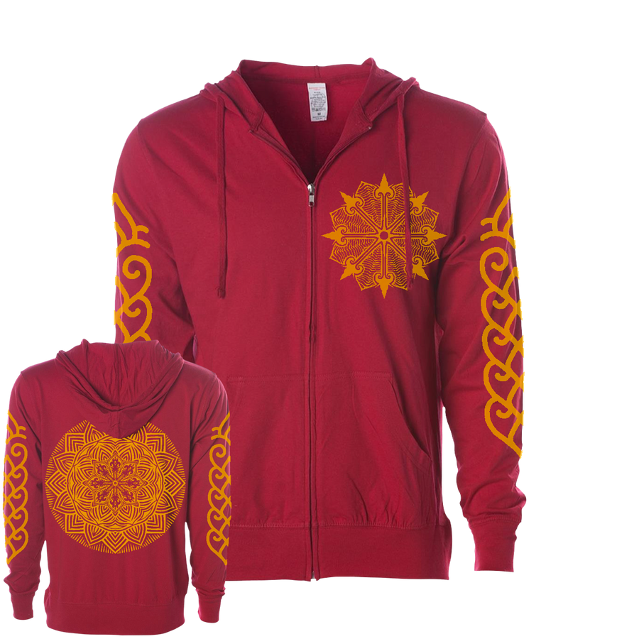 "THOMAS HOOPER ""Sun Eye"" Red Zip-Up Hoodie"